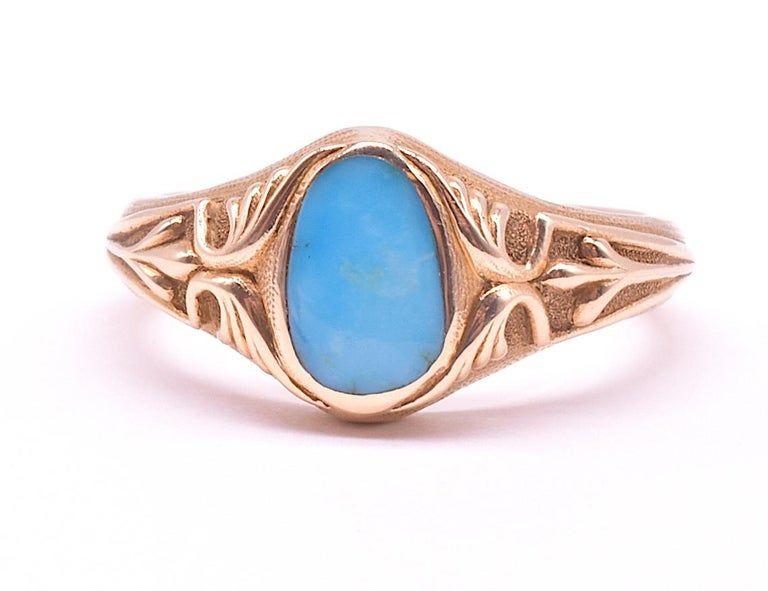 C.1903 15K Gold Turquoise Single Stone Ring