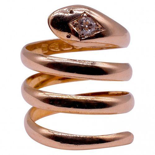 Hallmarked 1895 18K Coiled Snake Ring w Diamond head