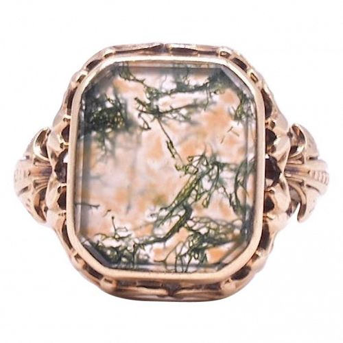 C.1860 Victorian Dendritic Agate Ring