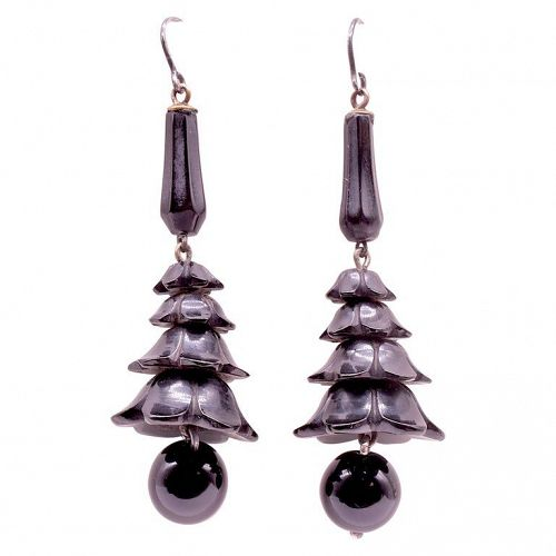 Victorian Whitby Jet Earrings with Dangling Jet Balls