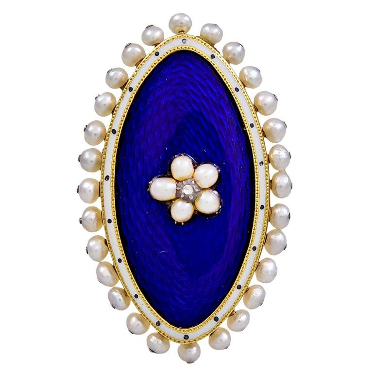 Antique Royal Blue Enamel and Pearl Ring