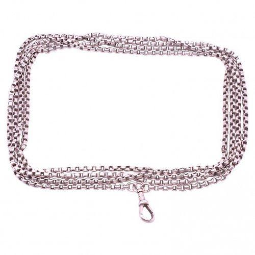 "C.1880 Sterling Silver Venetian Box Link Watch Chain, 64"""