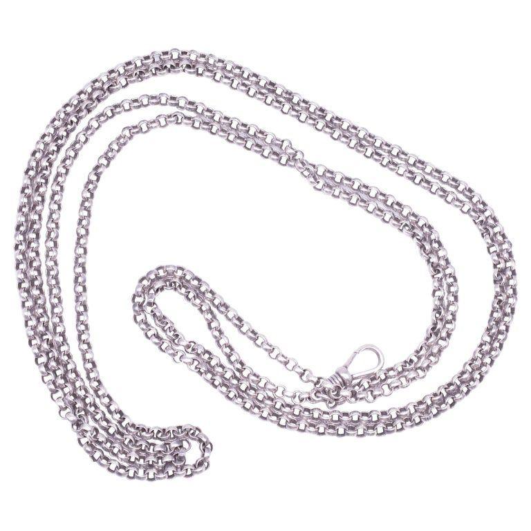"""C.1860 Sterling Silver Round Belcher Link Watch Chain, 67"""""""