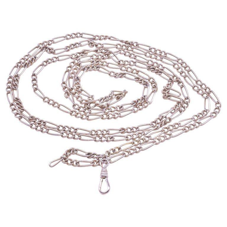 "C.1880 Sterling Silver Fetter Link Watch Chain, 49"""