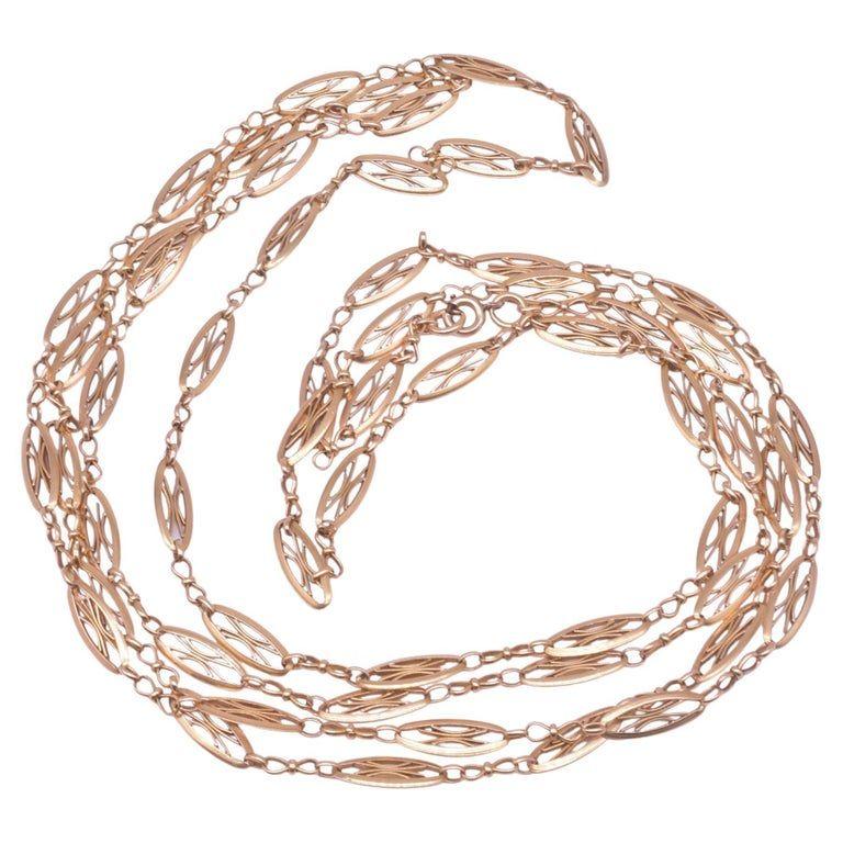 C1900 French 18 Karat Gold French Filigree Watch Chain