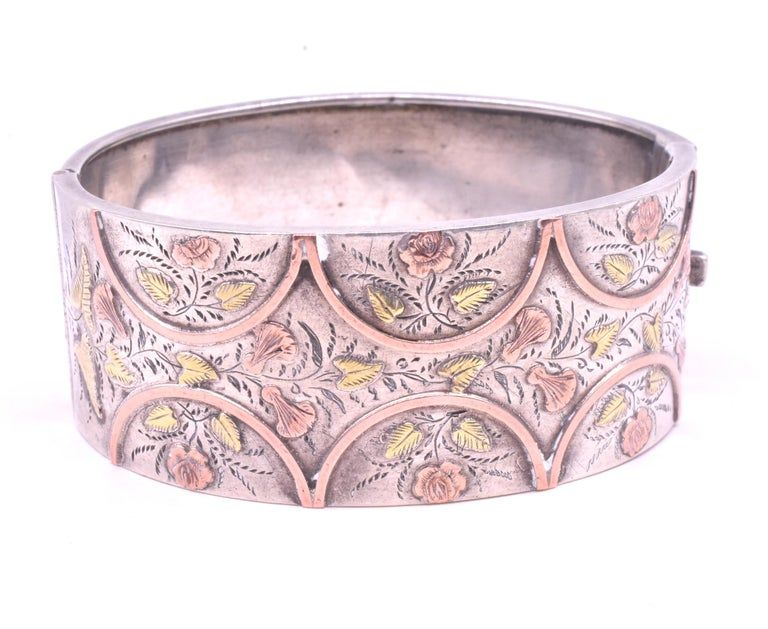 Victorian 2 Color Gold Cuff Bracelet of Carved Leaves Lilies and Roses