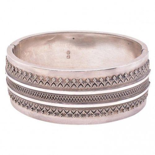 Victorian Sterling Cuff Bangle Bracelet w/ Raised Hearts and Diamonds