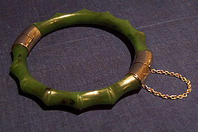 Spinach jade bracelet carved to suggest bamboo
