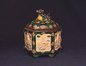 20th Century Ao-Kutani Style Censer - Relief Biscuit Panels