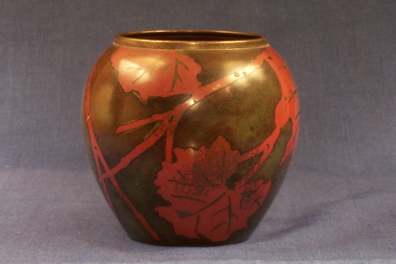 German Arts and Crafts Fire Patinated Bronze Vase