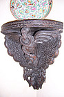 Raj, Anglo-Indian Colonial Carved Wood Corner Shelf