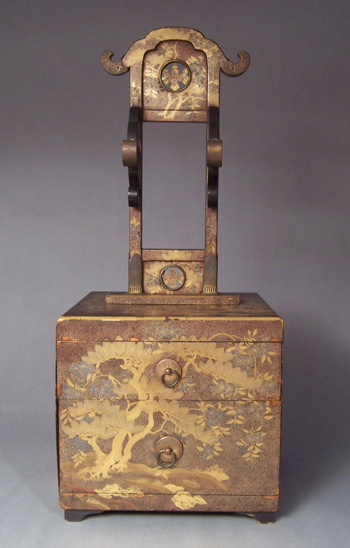 Japanese Lacquer Kyodai or Mirror Stand on Small Chest