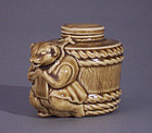 Whimsical Japanese Green Glaze Pottery Figural Sake Pot