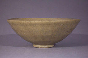Early large Longquan type olive drab celadon lotus bowl