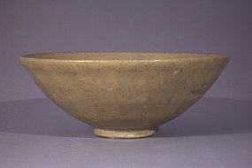 Early large Longquan type olive drab celadon lotus bowl