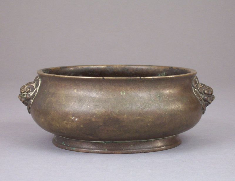Late Ming, Early Qing Bronze Censer, 6 char Xuande mark