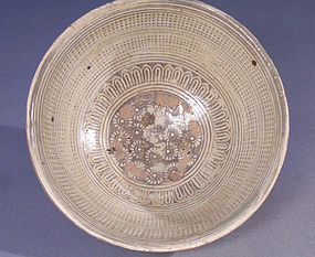 Korean, Joseon Dynasty White Slip Inlaid Punchong Bowl