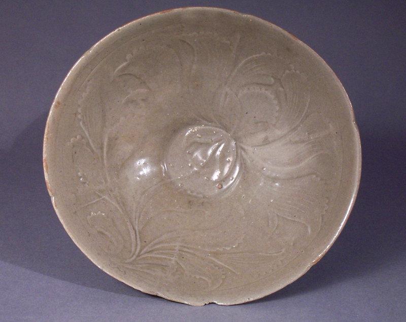 Rare Koryo dynasty moulded celadon stoneware peony bowl