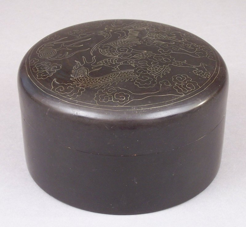 Korean Wire Inlaid Round Lacquer Box, Dragon Decoration