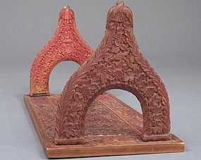 Anglo-Indian Colonial Carved Wood Letter or Book Holder