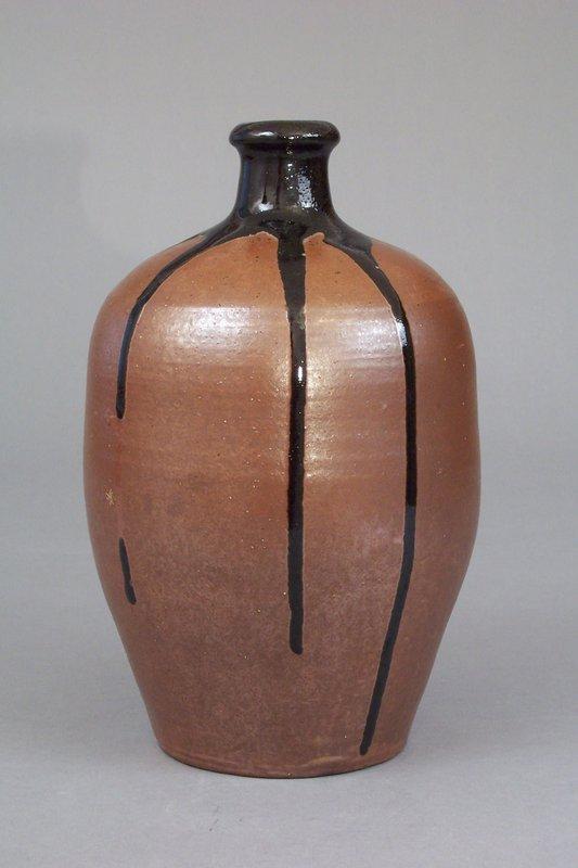 A Tamba Ware Pottery Tokkuri (Sake Jug)