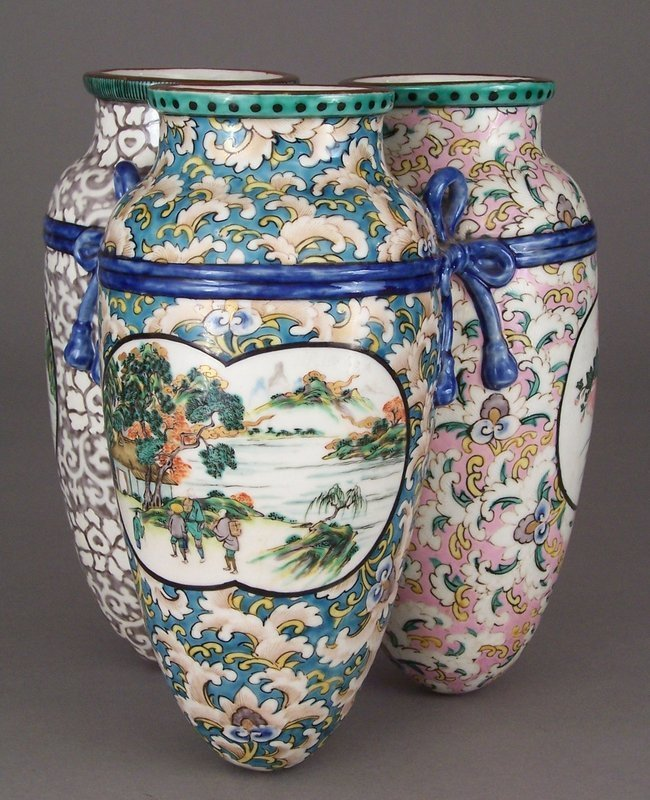 Unusual, Large Japanese Tripart Polychrome Porcelain Vase