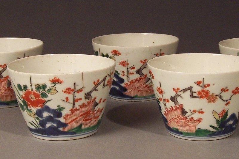 Set Five Ko-Imari Kakiemon Style Polychrome Enamel Cups