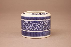 Unusual Japanese Blue and White Porcelain Koro