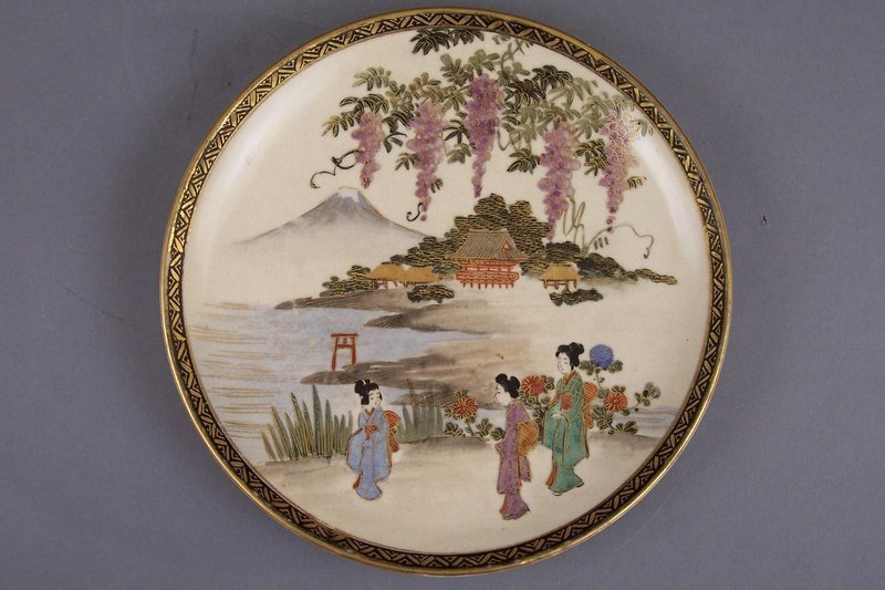 Small Satsuma dish, figures in Mt Fuji lake landscape
