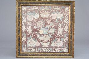 Chinese Stitched Silk Panel. Bird centered by Treasures