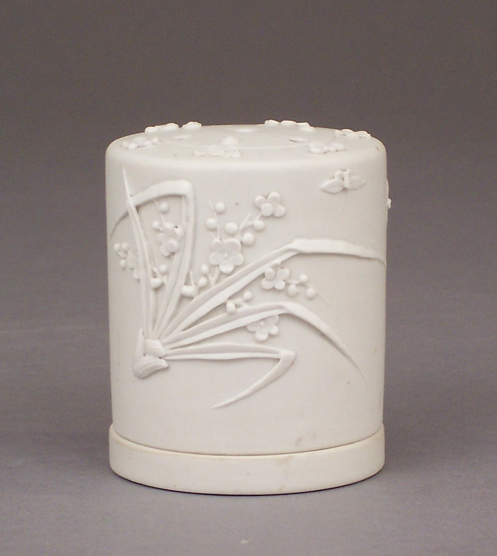 Chinese Carved White Biscuit Porcelain Incense Holder