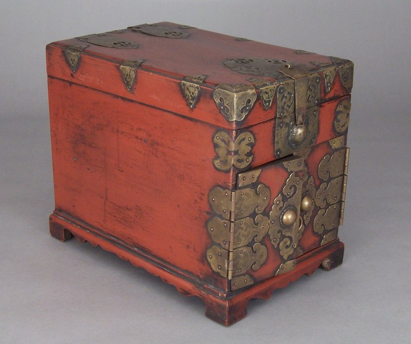 Korean Burgundy Lacquered and Brass Bound Safe Chest