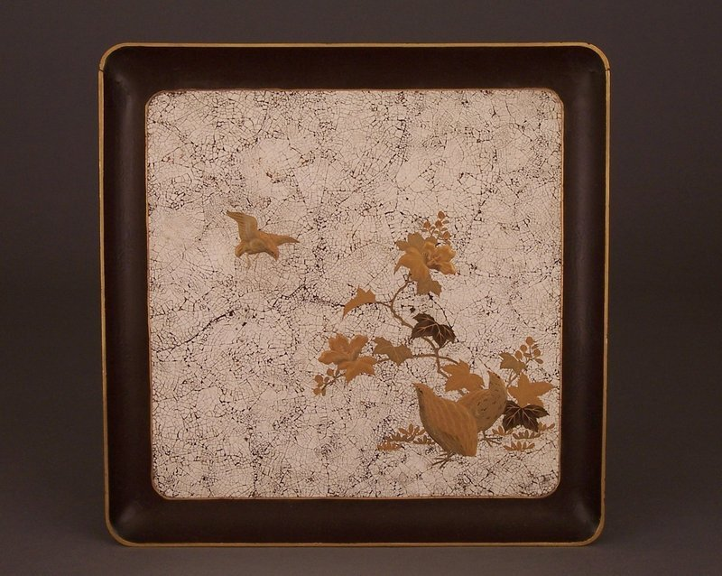 Signed Egg Shell and Taka-Makie Lacquer Tray, Quails