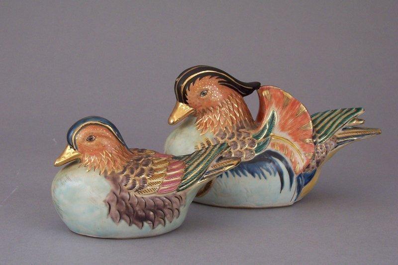 Kutani Porcelain Male And Female Mandarin Ducks Item 1144599