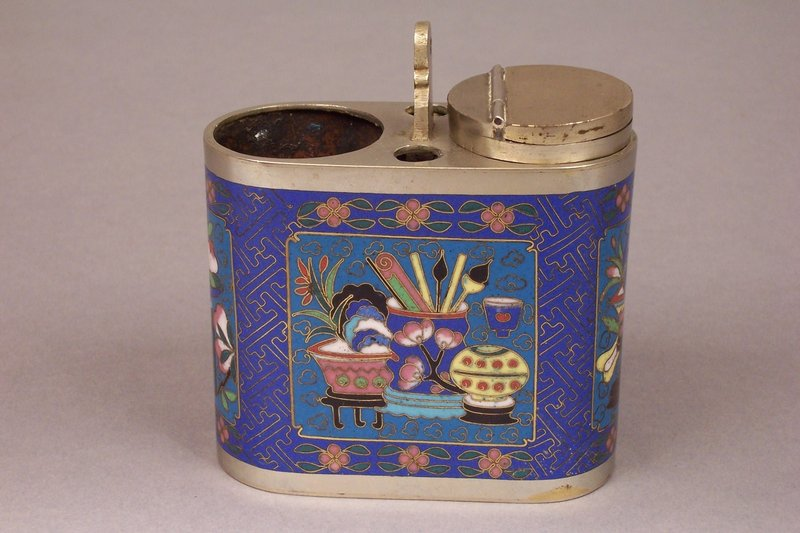 Silver Plated Brass Cloisonne Opium Water Pipe Base