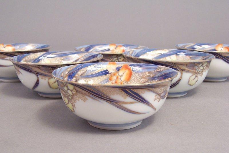 Fukagawa Iris pattern 4 7/8 inch ice cream bowls