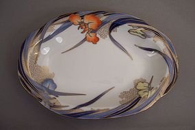 Fukagawa Iris pattern 8 7/8 inch open vegetable dish