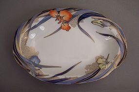 Fukagawa Iris pattern 8 7/8 inch open vegetable dish