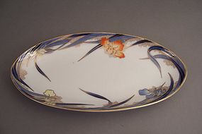 Fukagawa Iris pattern 11 7/8 inch fish serving dish