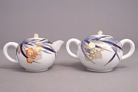 Fukagawa Iris pattern creamer and large sugar