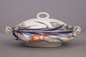 Fukagawa Iris pattern 11 3/4 inch long covered tureen