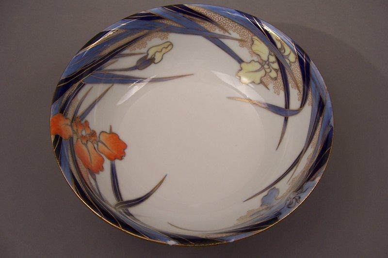 Fukagawa Iris pattern 8 3/8 inch diameter bowl