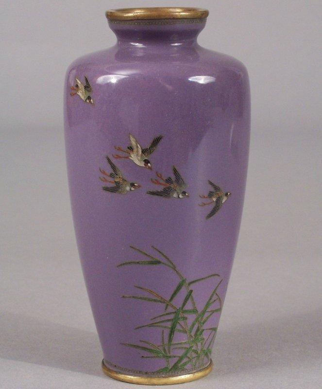 Signed Japanese Cloisonne Vase, Chidori & Bamboo Shoots