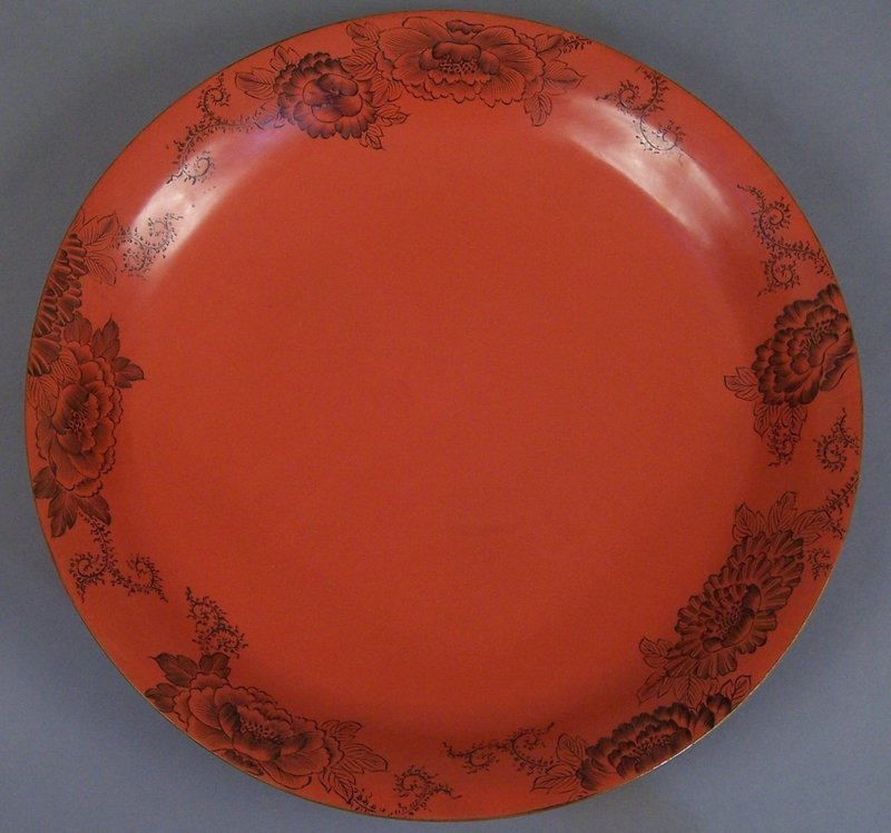 Large Kamakura Style Studio Incised Red Lacquer Charger