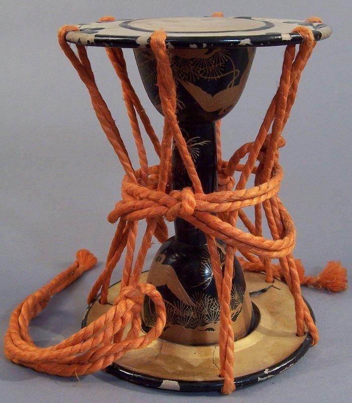 Japanese Lacquer Tsuzumi Hand Drum. Phoenix, Pine Decor