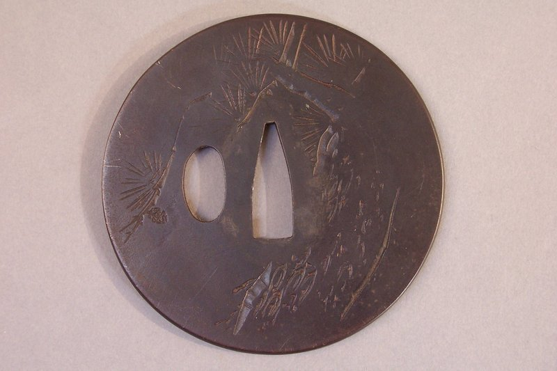 Edo Period Chiseled Iron Tsuba, Three Friends of Winter