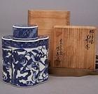 Blue and White Shonsui style Tea Caddy, Sawamura Tosai