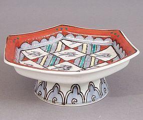 Hexagonal Footed Dish, Chidori. Manner of Hajime Kato