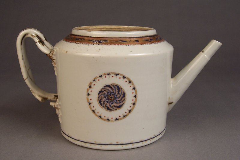 Stapled 18th Century Chinese Export Famille Rose Teapot