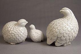 Japanese studio porcelain Quail family, 2 pieces plus 1